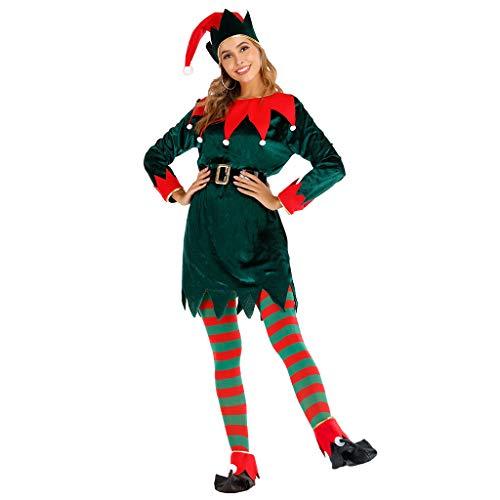EraSpooky Disfraz de Duende Navideño para Mujer Disfraz Sombrero Calcetín Cubierta de Zapato Cinturón Traje de Fiesta Divertido para Adulto