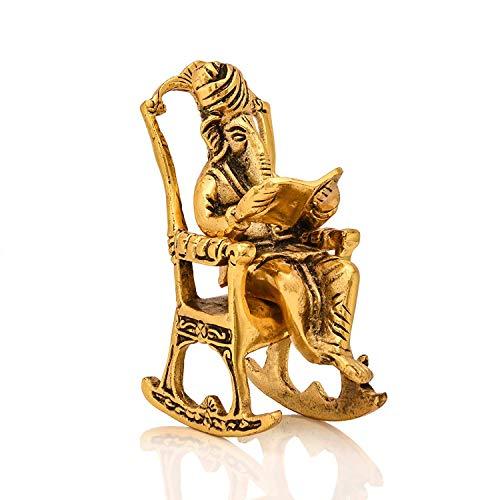 Collectible India Metal Lord Ganesha Reading Ramayana Statue Hindu God Ganesh Ganpati Sitting on Chair Idol Sculpture Home Office...