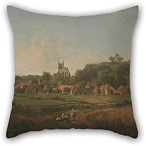 Fundas de cojín divertidas y duraderas de Arthur Nelson con pintura al óleo, una vista distante de Hythe Village e Church, Kent, para pareja, San Valentín, hijo, padre, oficina, cine en casa de 16 x 16 pulgadas