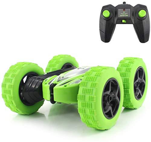 fisca RC Stunt Auto Ferngesteuertes Auto, 2,4 GHz 4WD Monster LKW Doppelseitig Rotierendes Taumelndes Fahrzeug Spielzeug mit Scheinwerfern für Kinder