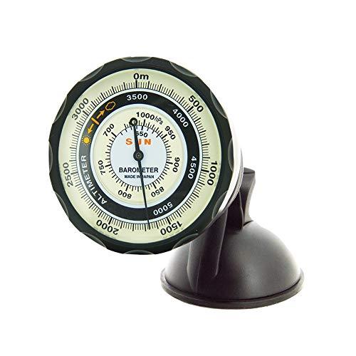 Sun Company Medidores AltiPort Altímetro y barómetro para salpicadero/Parabrisas | Altímetro para automóvil y camión | Lee la altitud de 0 a 5000 Metros