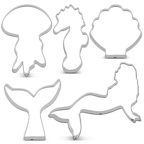 Maiju Ozean Kreatur Meerjungfrau Keksausstecher Set - 5 Stück - Meerjungfrau, Meerjungfrau Schwanz/Walschwanz, Quallen, Muschel und Seepferdchen Ausstechformen - Edelstahl