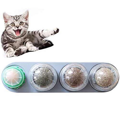 IWILCS Katzenminze Spielzeuge, 4 in 1 Katzenminze Ball für Katzen Set, Katze Spielzeuge Set, Katzenminze Wandball, Katzenminze Süßigkeiten, Katzen Zuckerball, mit Selbstklebendem Aufkleber