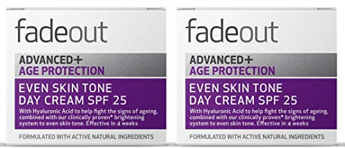Fade Out Advanced+ Age Protection Even Skin Tone Day Cream with SPF 25 - Brightening Cream With Hyaluronic Acid and Niacinamide, 2 x 50ml
