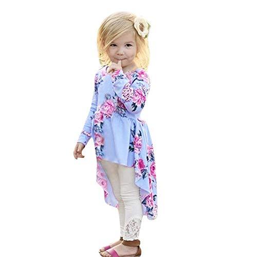 Zarupeng baby kinderen meisjes lange mouwen bloemenprint blouse shirt onregelmatige zoom babydoll jurk feestelijke kleding