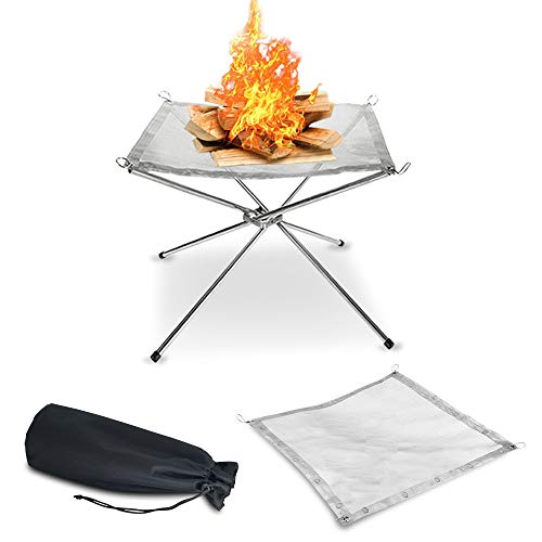 KEGOMAS - Portable Outdoor Fire Pit (Large 22') | Folding Legs and Carry Bag Design | 2 Stainless Steel Mesh Screens Included | Backyard Wood Burning Camping Fireplace for Bonfires or Cooking