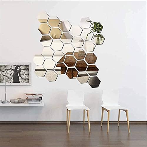 NGLSCXR 24 PCS Etiqueta engomada removible de la Pared del Espejo de acrílico, Espejo 3D Hexagonal, Espejo extraíble de la lámina de Pared, para niños dormitorios de viveros viviendo, Bricolaje Decor
