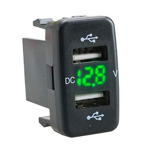 Mogzank Adaptador de Pantalla de Voltios de Carga de Puerto USB Doble para Cargador de Coche Adaptado para Verde