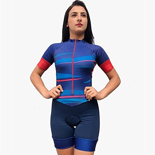 Triathlon Skinsuit Jumpsuit Frauen Radfahren Jersey Set Kurzarm 9d Gel Pad MTB Fahrrad-Sommerkleidung. (Color : 12, Size : S)