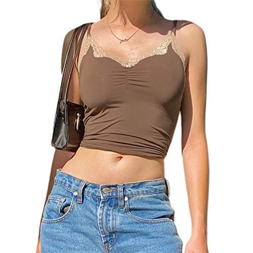 Damen Y2k Nettes kurzes Top Frauen Sommer Ärmelloses ästhetisches T-Shirt Top Sexy 90er T-Shirt Cuteandpsycho Spaghettiträger Spitze Kurze Weste (Braun, S)