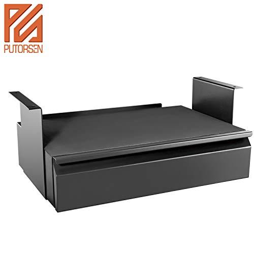 PUTORSEN® Platz sparend unter Schreibtisch schublade mit Ablage, Stahlkonstruktion, Schwarz