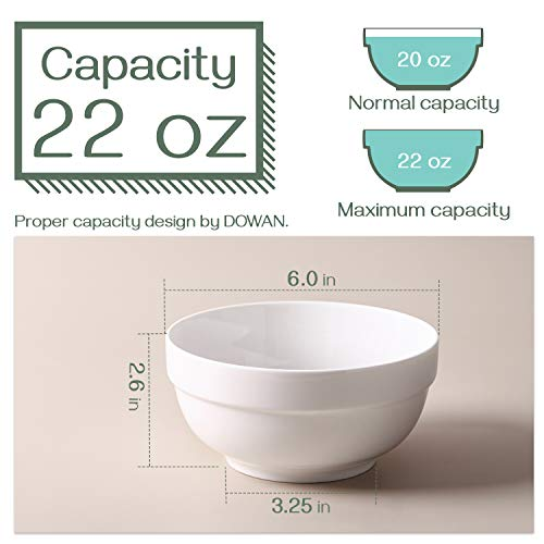 DOWAN 22 Ounce Soup Bowls Cereal Bowls, Porcelain Bowls for Kitchen, White Bowls Set for Cereal, Soup, Rice, Dessert, Oatmeal Breakfast, Dishwasher & Microwave Safe, Set of 4, White