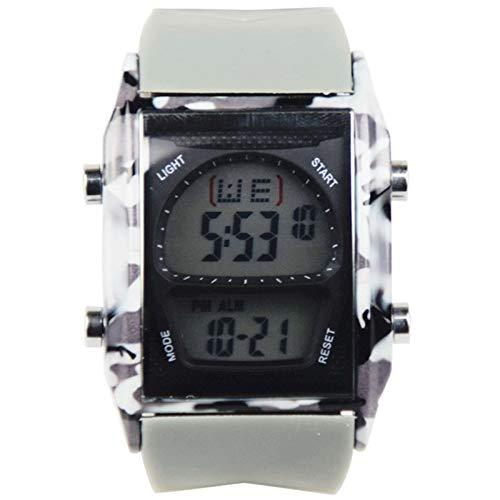 HCHL Reloj de Pulsera Impermeable LED Deportivo Militar Digital analógico, Reloj Creativo, Tablero Deportivo para Hombres, Relojes Deportivos (Color : Gray)