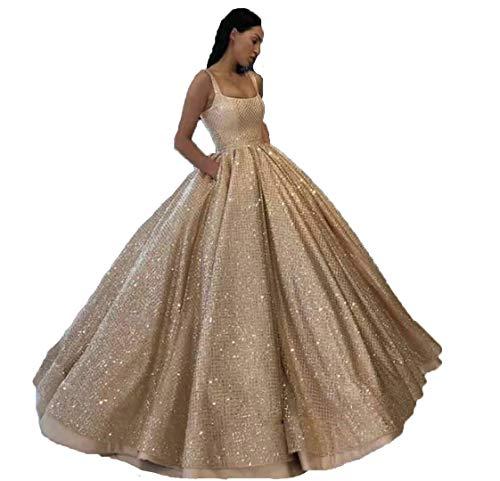 APLbridal Women's Off Shoulder Glitter Dress V Neck Prom Ball Gown Al016