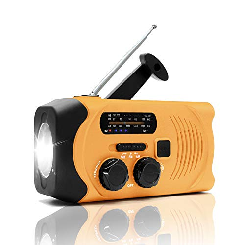 Lynex NOAA Weather Hand Crank Emergency AM/FM Radio Solar Charge with Survival Flashlight SOS Alarm Cell Phone Charger 2000mAh USB Power Bank Battery Portable Mini Design for Hiking–Orange
