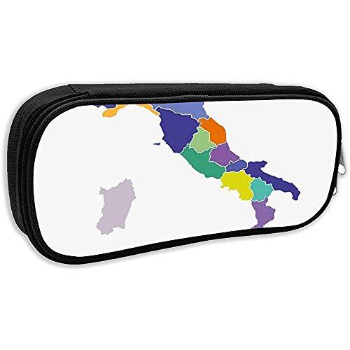 Estuche para lápices escolares, Italia Italia Mapa Borde administrativo Campania Cartografía Bolígrafo de color Bolso de papelería de oficina