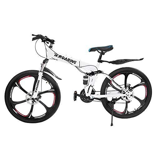 HGmart Folding Mountain Bike 26 Inch, 6 Spoke 21 Speed Bike Double Disc Brake Suspension Fork Rear Suspension Anti-Slip Bicycles (White)