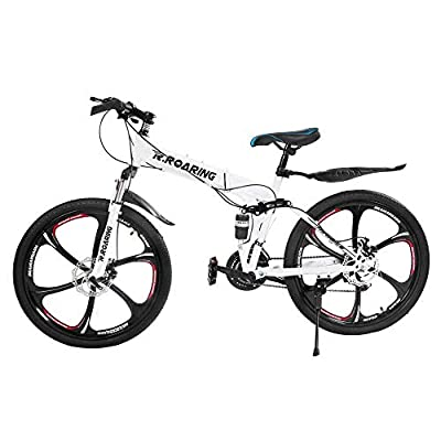 HGmart Folding Mountain Bike 26 Inch, 6 Spoke 21 Speed Bike Double Disc Brake Suspension Fork Rear Suspension Anti-Slip Bicycles (White)