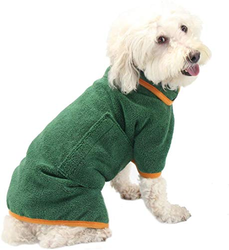 PETTOM Albornoz para Mascotas de Microfibra Absorbente,Toalla para Perros para Secado Tras el baño, Nadar o Paseo bajo la Lluvia (M,L,XL) (XS)