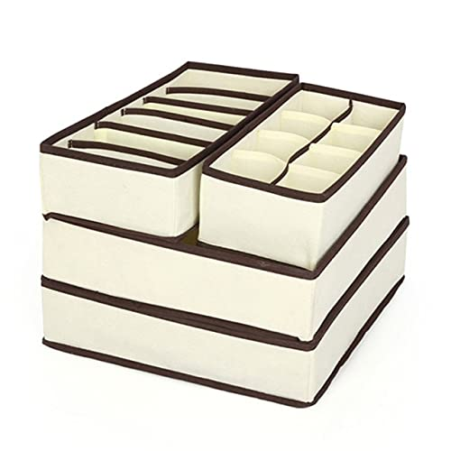 YUBIN 4 Uds Caja de Almacenamiento de Ropa Interior Beige Pajarita Pantalones Cortos Ropa Interior Sujetador cajón Caja de Almacenamiento de separación Armario Caja de Almacenamiento