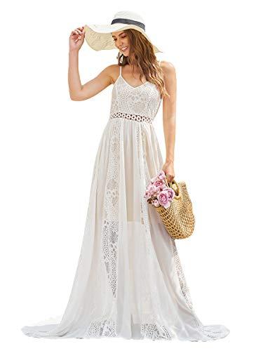 Ever-Pretty A-línea Vestido de Noche Largo Encaje chifón Cuello en V para Mujer 00947