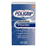 Super Poligrip Extra Strength Denture and Partials Adhesive Powder, 1.6 ounce, Pack of 6