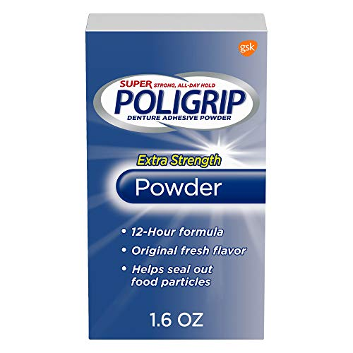 Super Poligrip Extra Strength Denture Adhesive Powder, 1.6 ounce (Pack of 6)