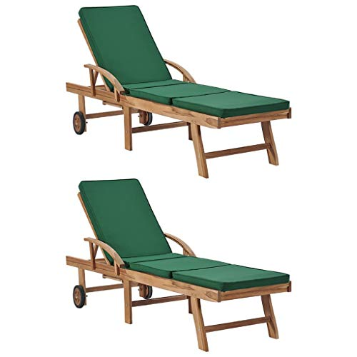 vidaXL 2 x Solid Teak Wood Garden Lounger Chairs with Cushions Sun Lounger for Patio Outdoor Green