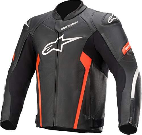 Alpinestars Chaqueta de motorista Faster V2 de piel, chaqueta deportiva, color negro y rojo flúo, talla 54