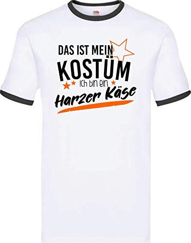 Shirtinstyle Ringer Shirt, Karneval Das ist Mein Kostüm, ich Bin EIN Harzer Käse Fasching Kostüm Verkleidung, Farbe Weiss-schwarz, Größe XXL