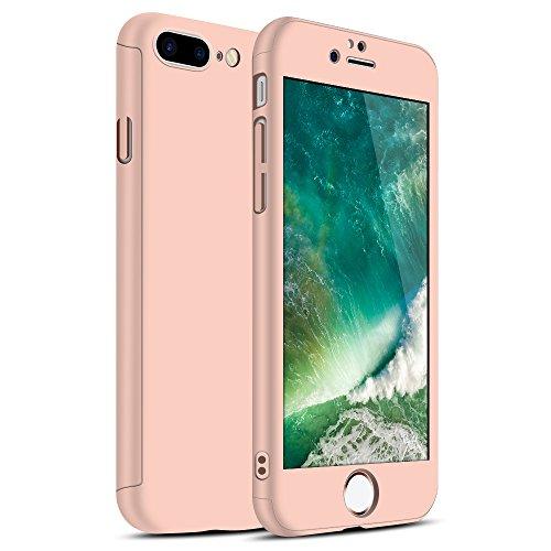 Zouzt iPhone 7 Plus Caso, iPhone 8 Plus Caso, 360 Grado de Cobertura de Cuerpo Completo Cubierta de protección Caso con Protector de Pantalla de Vidrio Templado-Oro Rosa