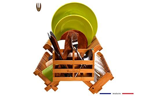 Wooglaste® – Abtropfgestell Bambus – 4 Aufbewahrungshalterungen – 1 obere Ebene plus 2 seitliche Ebenen für Teller, Gläser, 1 Besteckkorb, faltbar