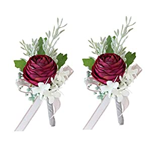 Fiwisora Pink Artificial Ranunculus Flowers Wrist Corsage & Boutonniere Wedding Bridal Bridesmaid Wristband Groom Bridegroom Lapel Flower for Wedding Prom Party Homecoming Pink Corsage Pack
