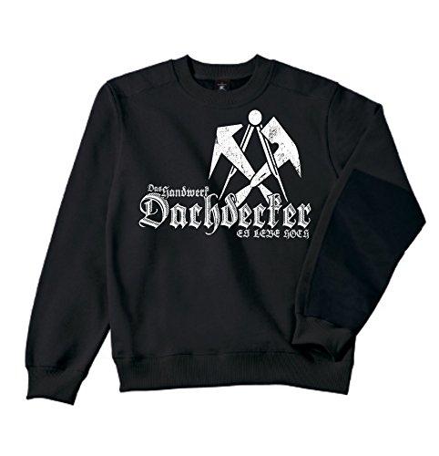 Dachdecker Sweatshirt - Workwear   Bau   Arbeit   Männer   Herren   Pullover   Arbeitskleidung   Handwerker   Zunftwappen (M, Schwarz)