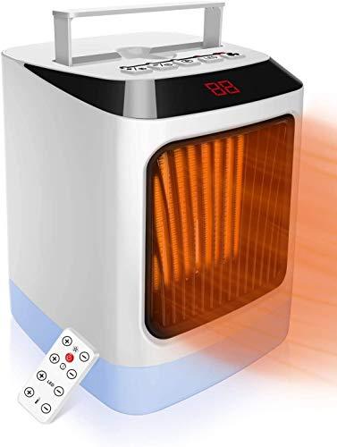 Termoventilatore, Mini LED riscaldatore con termostato indicatore,Temperatura preimpostata,Riscaldatore 2s,Protezione da surriscaldamento e ribaltamento,Con telecomando,Sicuro per Ufficio-Casa