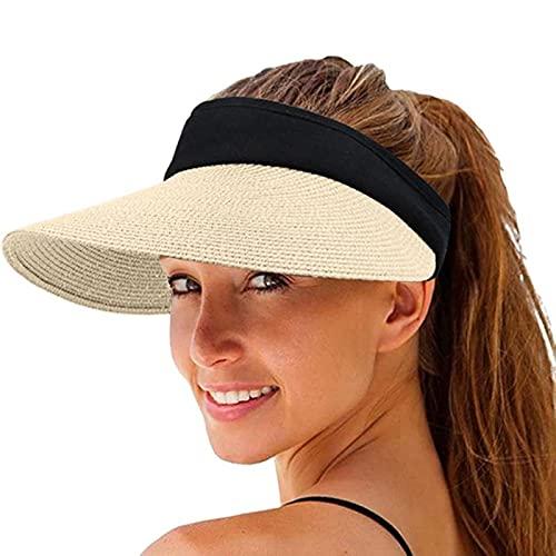 LTTA Viseras para el Sol Gorra Transpirable de Verano Informal Gorra de béisbol Superior vacía Gorra de béisbol Tejida para Mujer Gorra Plegable al Aire Libre Sombrero para el Sol para Vacaciones