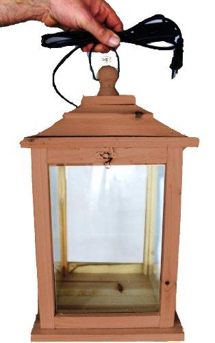 Holzlaterne, mit Beleuchtung 220V, Laterne aus Holz mit Holz - Deko KL-OFOS-DUNKELBRAUN aus Holz dunkelbraun Teak Look Holz