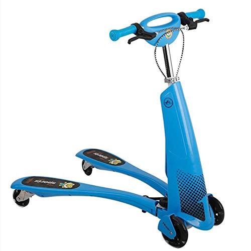 ZTMN kinderstep, schommel, knipperend op vier wielen opvouwbare draagbare step, in hoogte verstelbaar, kikkerfiets