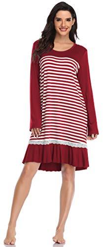 SHEKINI Damen Gestreifter Nachtwäsche Nachtkleid Süßes Schlafkleid Volant Schlafshirt mit Spitze Pyjama Loungewear Still Große Größen Nachthemd (M, Nachtkleid C-Weinrot)