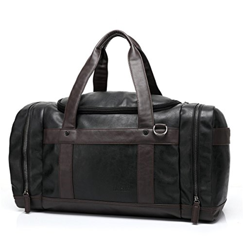 BAOSHA HB-13 Oversized PU Leder Unisex Herren Weekender Handgepäck Duffel Bag Handtasche Schultertasche Reisetasche Schwarz