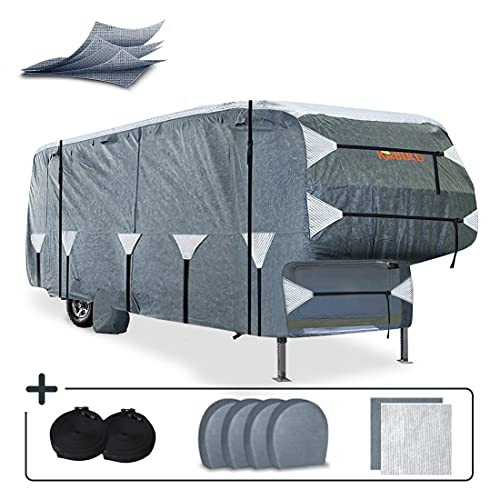 KING BIRD Upgraded 5th Wheel RV Cover, Extra-Thick 5 Layers Anti-UV Top Panel, Durable Camper Cover, Fits 26'-29' Motorhome -Breathable, Water-Proof, Rip-Stop with 2Pcs Extra Straps & 4 Tire Covers