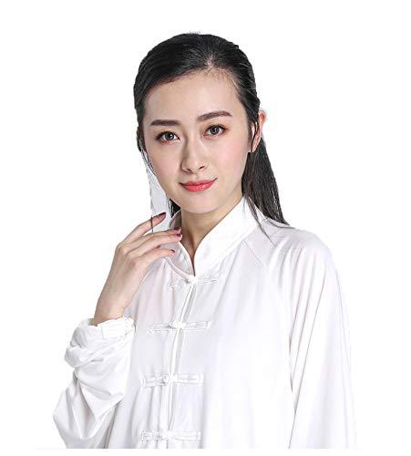 FHKL Tai Chi Kleidung Weiblichen Frühling Und Herbst Milch Seide Tai Chi Kostüm Leistung Kampfkunst Kleidung,White-M