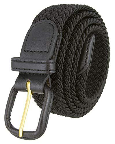 Belts.com Leather Covered Buckle Woven Elastic Stretch Belt, Black, (3XL(46-48')
