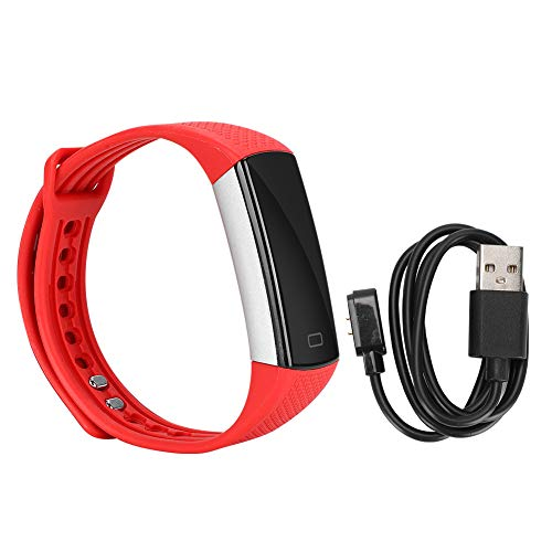 Q-HL Smartwatch Reloj Inteligente Pulsera Inteligente Deportiva Reloj De Banda De Muñeca De Silicona con Monitor De Ritmo Cardíaco Pantalla Táctil para Niños Mujeres Hombres - Rojo