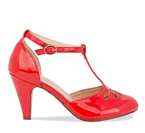 Chase & Chloe Kimmy-36 Women's Teardrop Cut Out T-Strap Mid Heel Dress Pumps (9, Red Pat)