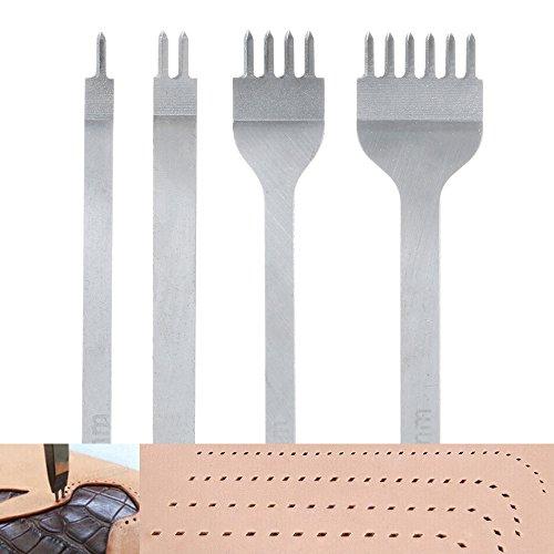 Malayas Perforadoras Herramientas Artesanales Costura, Tenedores para Coser Cuero, Herramientas de Cuero para Marcar Puntadas, Juego de Perforadores de Cuero de 1+2+4+6 Puntas-4mm
