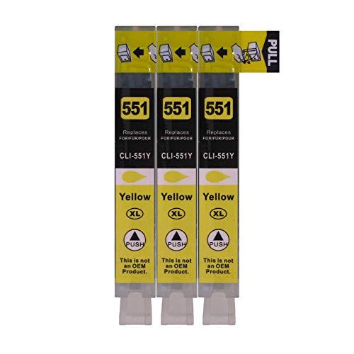 3 Druckerpatronen für Canon mit Chip, ersetzt CLI-551Y Yellow