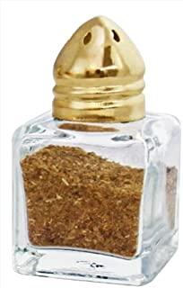 New Star Foodservice 22223 Glass Cube Mini Salt and Pepper Shaker with Gold Plated Top, 0.5-Ounce, Set of 48