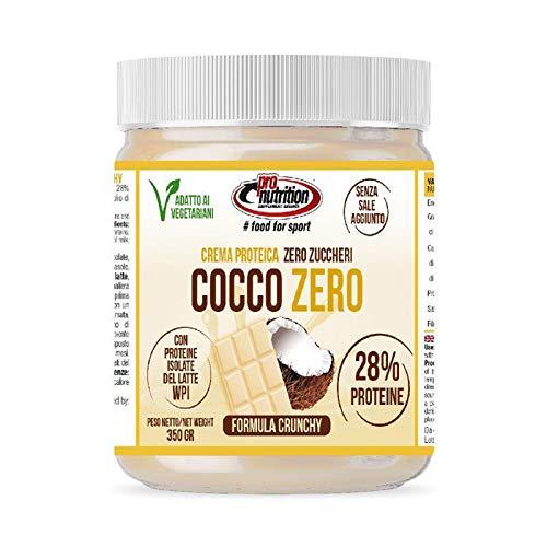Pro Nutrition - Cocco Zero - 350g - Crema spalmabile proteica senza zuccheri al cioccolato bianco e cocco