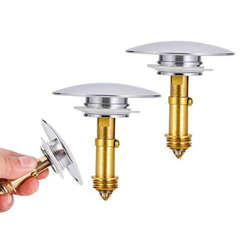 Viilich 2 tapones de desagüe para lavabo de baño de 66 mm, con tapón de desagüe de latón ranurado de 28 mm, para lavabo, lavabo de baño, bañera